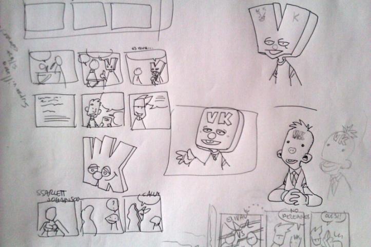 Evolución de los primeros bocetos del Señor Verkami... de Muppet, a alien... hasta que se decidió que sería las dos cosas.