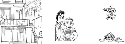 Making of la tira del Parkour, así trabajaba Sarnago en el proceso.